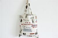 Wholesale 1pc Women Shopper plegable Reusable airplan print Tote Bags Cotton Canvas Shopping Handbags Eco bags by honestgirl09
