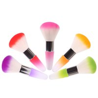 Wholesale 1Pcs Salon Acrylic UV Nail Gel Powder Nail Dust Brushes Colorful Nail Art Remover Brush Cleaner Makeup Brush Foundation Tool
