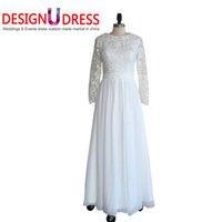 arabic hijab design - Design U Dress Real Photo Chiffon Vintage Wedding Dress Hijab Long Sleeve Arabic Wedding Gown Ball Gown