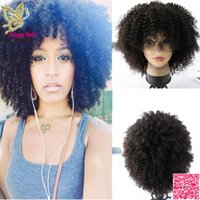 Wholesale 150 Density Afro Kinky Curly Human Hair Lace Front Wigs With Full Bangs Brazilian Human Hair Full Lace Wigs With Baby Hair