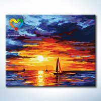 Wholesale Sunset Clouds Wall Art DIY Painting Baby Toys x50cm Coloring Canvas Oil Painting Drawing Wall Art for Bar Decoration with Wooden Frame