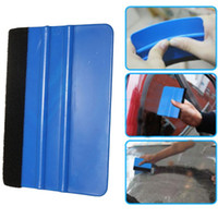 Wholesale 1Pcs Squeegee Car Film Tool Vinyl Blue Plastic Scraper Squeegee With Soft Felt Edge Window Glass Decal Applicator Film Scraper order lt no t