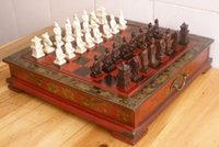 Wholesale cheap Chinese pieces chess set Leather Wood Box Flower Bird Table AAA