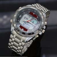 alarm clcok - Fashion Men s Sport Watches Full Stainless Steel Waterproof Dual Time Analog Quartz Digital LED Military Watch Clcok Man