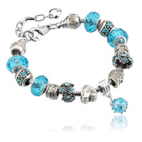 strands of glass beads - DHL FREE Silver Field of Daisies Murano Glass Crystal European Charm Beads Fits European Style Bracelets