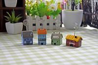 Wholesale Miniature Bird House Bird House Fairy Garden Miniature Garden Ornament Pick Accessory Slant Roof Bird House Garden Accessories