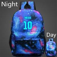 Wholesale Messi backpacks Night luminous printed school bags casual travel sport bags high school student shoulder book bag escolar mochila sack