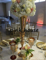 Wholesale Slim metal flower vase trumpet vases centerpieces for wedding home decoration