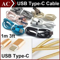 Wholesale 1M FT Type C Braided Fabric Metal Plug Charging Cable Micro USB Type C Male Data Sync Charger Line For LG G5 Nokia N1 Apple New MacBook