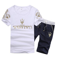 Wholesale Hot Sale Maseratis men t shirt Fashion O neck Short sleeve Casual Male Clothes Korean Slim Fit Print T shirt Shorts Whosale M XL