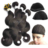 Wholesale Human Hair Weft Body Wave Bundles Brazilian Virgin Hair Natural Color Hair Extensions inch set with Free Braided Cap