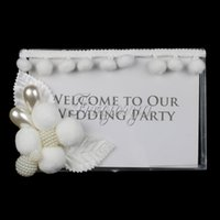 area flowers - Wedding Board Acrylic Photo Frame Crystal Place Card Sign With Flower Pearl For Wedding Decoration Welcome Area Signing Prop