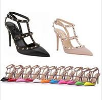 Wholesale Hot Genuine leather Rockstud V brand Sling Rivets rock studded pumps cm strap high heel pointed dress shoe stud women sandals
