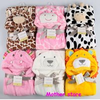 Wholesale 11pcs New style M baby coral fleece animal head children blanket76 cm newborn girl and boy supersoft outfit cloak In spring