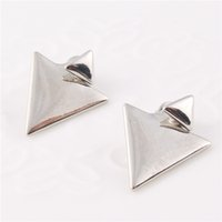 Wholesale Women Fashion Jewelry Earring Gifts Punk Wind Double Triangle Alloy Stud Earrings