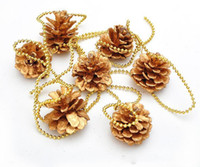 Wholesale 2016 Pinecone Gold Pearl Beads Chain Ornaments Strap Garland Christmas Tree Holiday Venue Decoration
