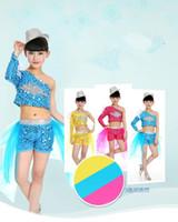 Wholesale New Arrival Oblique Diamond Swallowtail Veil Dress Jazz Hip hop Magic Children s Party Girl Kids Dancewear Performance Clothes Stage Costume