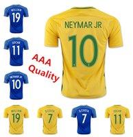 Gran venta !!! 2016/2017 Camisa jerseys del fútbol de Brasil Jersey casera superior de Tailandia fútbol de la calidad de los hombres del envío libre Amarelinha