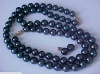 Wholesale 9 MM NATURAL BLACK TAHITIAN PEARL NECKLACE18inch BRACELET EARRING SET k