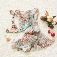 Wholesale EMS or DHL Kid Stylish Bigger Girls Aqua Flowers Floral Print bathsuit Swimhat beachwear Big Swimwear Swimsuit
