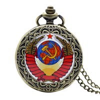 Wholesale Pocket Watch Russia The Soviet Union Flag Antique Quartz Necklace Pendant Mens Gift New Year relogios masculinos P1402