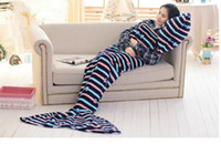 Wholesale 1 x0 m adult gender Mermaid Tail Blanket soft kintted shark tail blanket for women and men Sleeping Bags
