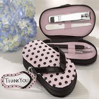 Wholesale nail tool set lovely slipper Pink Polka Dotlovely Purse Manicure Set Shower Favors Flip Flop Nail scissor Care Pedicure Set