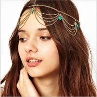 Wholesale European and American fashion accessories princess street snap hair turquoise pendant multi layer chain tassel hair with hair band