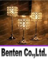 Support en métal argenté Bougie avec des cristaux de mariage Candelabra / Centerpiece Décoration 1 Set = 3 pcs Candlestick Matching Cup Candle LLFA11
