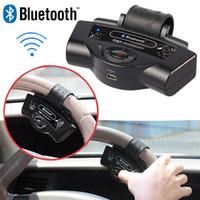Wholesale BT B Steering Wheel Bluetooth Car Kit Handsfree Built in Microphone Speaker mAh Li ion Battery Support Dual Standby TTS A2DP Function