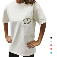 Wholesale S5Q Women s Casual Elephant Printed Short Sleeve T shirt Round Neck Cotton Tops AAAFWS
