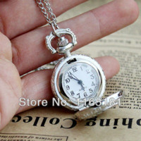 Wholesale Silver Costume Watches - Min Order $10 Costume Silver Color Alloy Steampunk Number Carved Designs Pendant Pocket Watch With Chain