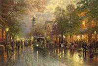 arts avenue - High tech Thomas Kinkade HD Print Oil Painting Art On Canvas evening on the avenue x36inch Unframed