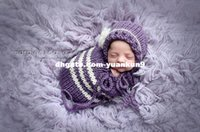backpacks sleeping bags - Girl Newborn Baby Photography Prop Handmade Crochet Knitted Baby Violet Stripe Sleeping Bag Cocoon animal backpack