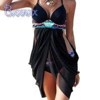 Cheap 2016 Hot Retro Print Push Up Bikinis Good Service Women Vintage Swimsuits Black Long skirt Swimwear New Fashion Bathing Suit Beach Swim Wear