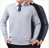 Wholesale European and American style men s v neck sweater long sleeve sweater fashionable young tri color sweater for a friend