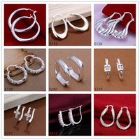 Wholesale New arrival women s sterling silver earring pairs a mixed style EME63 brand new fashion silver Ear clip earrings