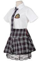 al por mayor cordón del vestido de cuadros rojos-Mujeres Cosplay Vestido Escuela Niñas Uniforme Rojo Plaid Pleated Negro Lace Skirt