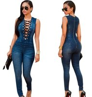 Wholesale New Arrival Women s Sexy Deep V neck Sleeveless Denim Jumpsuit Lace Up Jeans Pants Cross Strap Rompers
