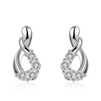 Wholesale New products listed fashion jewelry Silver plated cubic zirconia water drop women earrings