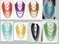 Wholesale fashion multi strands acrylic beads necklace woman stack layered long chunky statement candy color necklaces for women in party