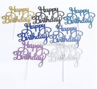 Wholesale Gold Silver Glitter Happy Birthday Party Cake toppers decoration for kids birthday party favors Baby Shower Decoration Supplies