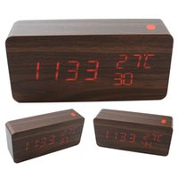 alarms power quality - 2016 new Quality Digital LED Alarm Clock Sound Control Wooden Despertador Desktop Clock USB AAA Powered Temperature calendar Display