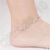 Wholesale 500pcs CCA4354 High Quality Korean Style Women Ankle Bracelet Retro Star Multi Bells Double Anklets Little Star Chain Simple Beads Anklets