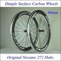 Wholesale Factory Price Dimple Surface mm Alloy Alum UD Wheels Clincher Carbon Wheelsets Bicycle Road Bike Dimples Wheels Glossy Matt Novatec Hu