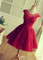 adorable homecoming dresses - Adorable Knee length Red Short Lace Prom Dress New Style Jewel Cap Sleeve Open Back Applique Beads Burgundy Homecoming Dress