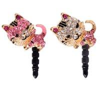Wholesale New Arrival Korea Full Diamond Jewelry Sleepy Little Cat Phone Dust Plug For iPhone All mm Cell Phone Earphone Plug