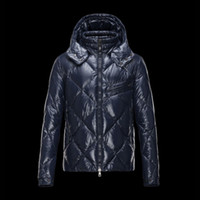 Wholesale Winter jackets mens Warm dark blue down coat Stand collar Detachable hood Inclined zipper pocket down jacket