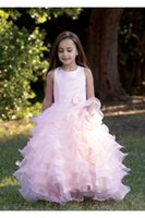 baptism decorations - Pink Tiered Piping Baptism Dresses Girls Handmade flowers Beautiful Elegant Floor length First Communion Decorations Happy Dresses