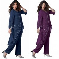 beautiful dress pants - Beautiful Plus Size Piece Mother Of The Bride Pants Suit With Sequins Long Sleeve Chiffon Mother Dresses with Jacket Mothers Suit